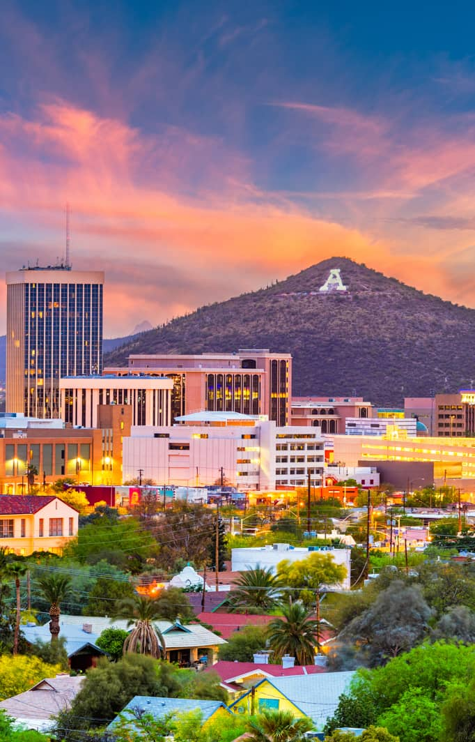 Downtown Tucson Arizona at Sunset