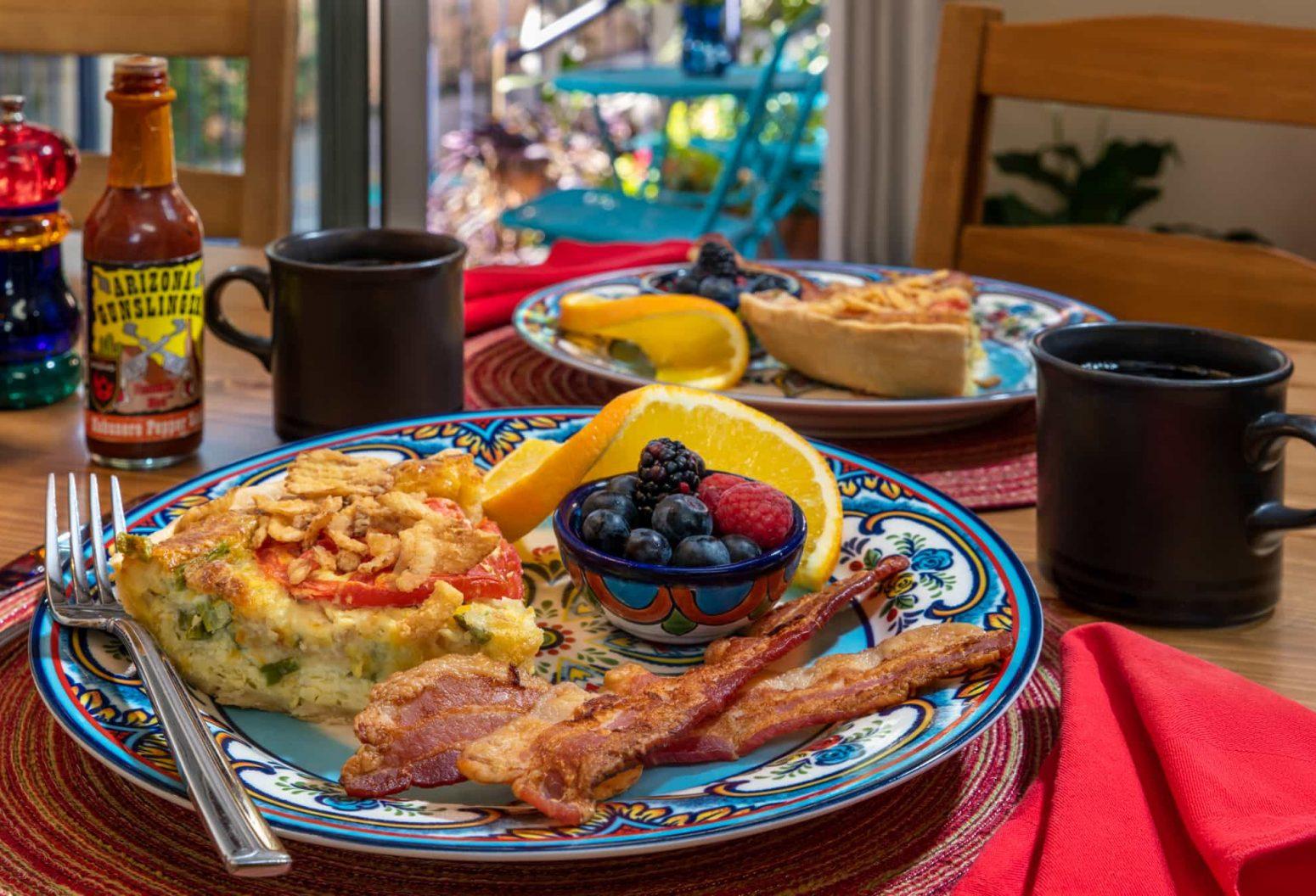 A hearty Southwest style breakfast at Adobe Rose Inn