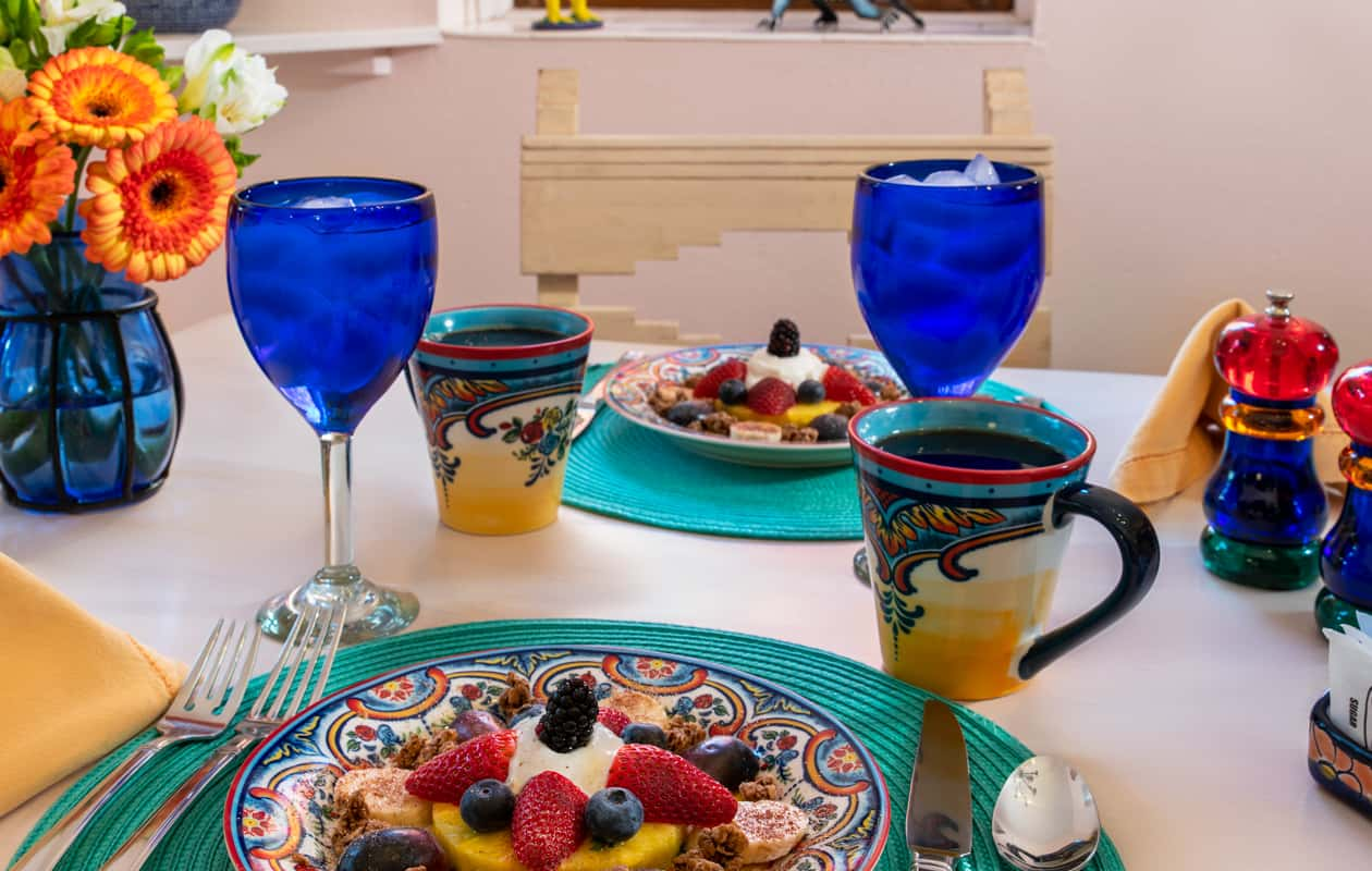 Breakfast and coffee served at Adobe Rose Inn