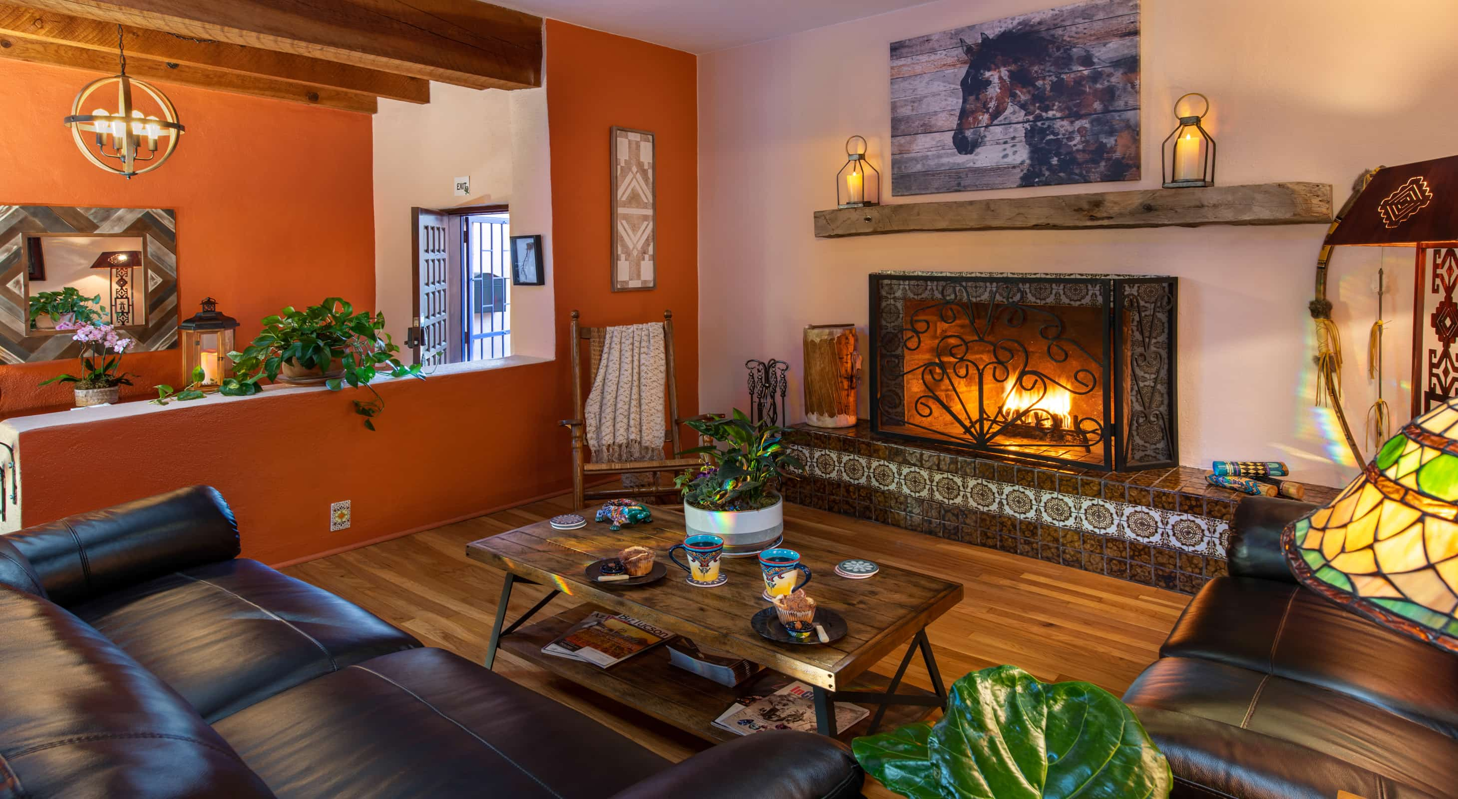 Fireplace common area for a Tucson Getaway