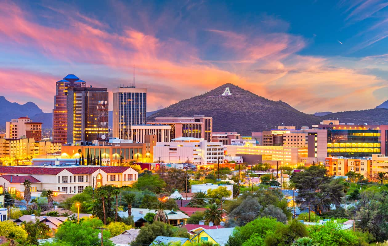Downtown Tucson Arizona at Sunset
