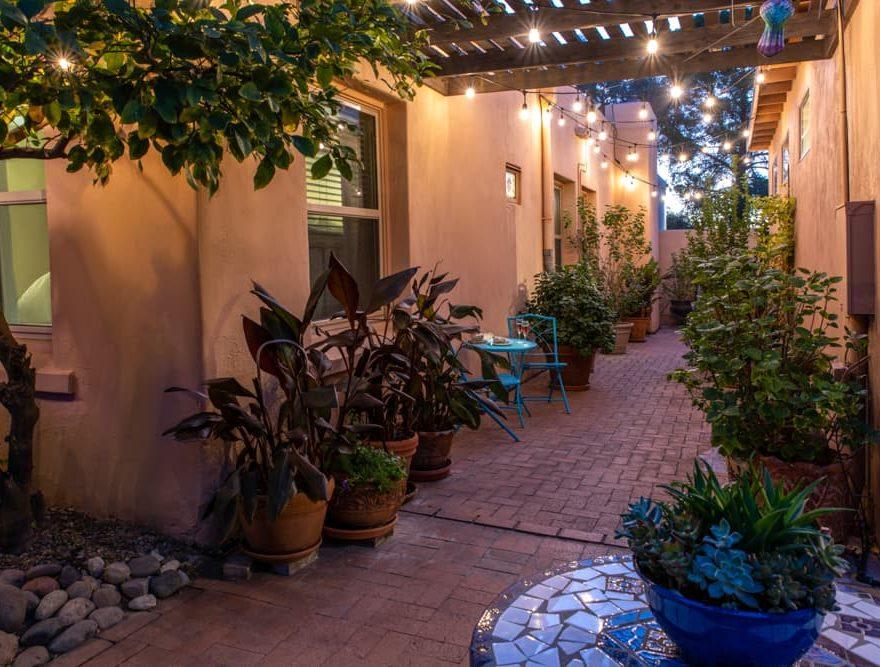 A romantic patio at Adobe Rose Inn
