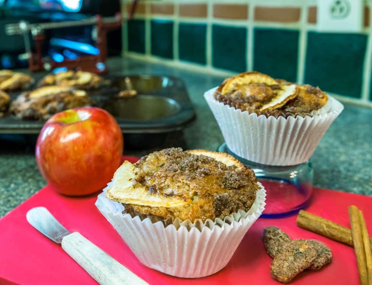 Fresh baked apple and cinnamon muffins