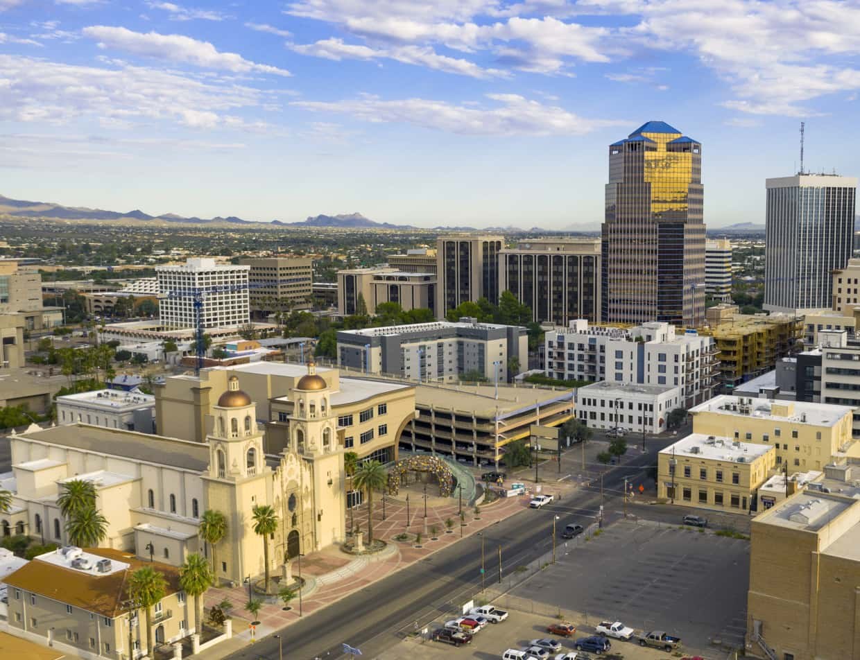 Downtown Tucson Arizona skyline and historic buildings